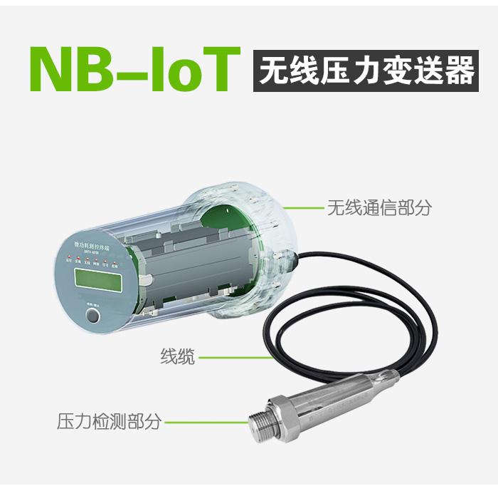 NB-IoT无线压力变送器由三部分组成,分别是无线通信部分、线缆和压力检测部分