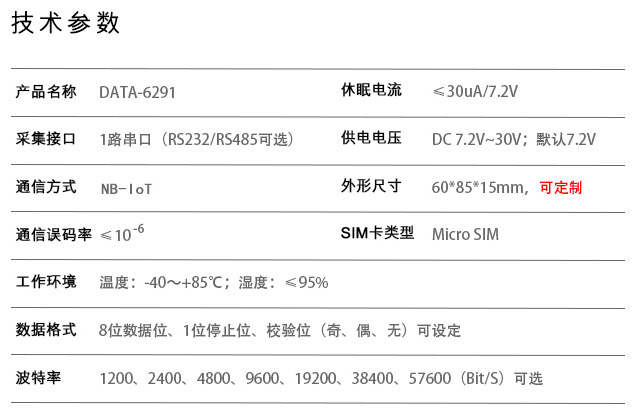 NB-IoT DTU(嵌入式微功耗型)技术参数