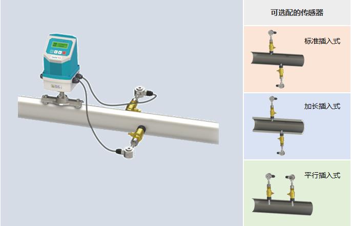 一体插入式超声波流量计——可选配的传感器