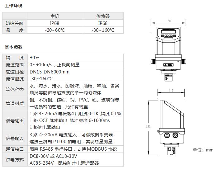 一体插入式超声波流量计——工作环境和基本参数