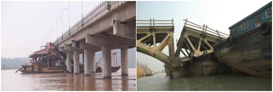 船只撞击桥墩的事故照片