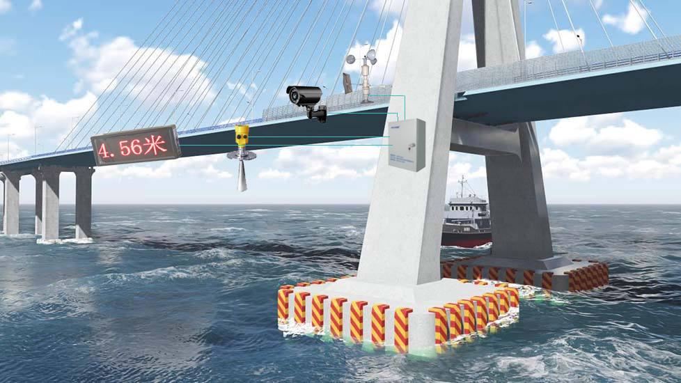 桥梁防撞之船舶安全通行远程监测系统安装示意图