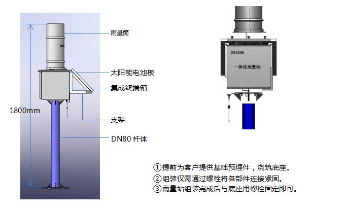 一体化雨量站三段一体式结构